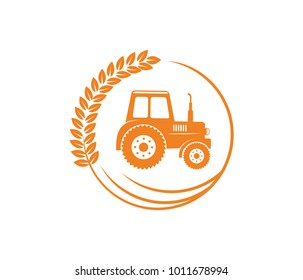 vector logo design illustration of tractor farm, crop land, soil farm, back yard, natural, agriculture business