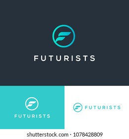 Vector logo design letter F for futuristic. Abstract illustration concept.