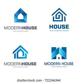 Vector logo design. Modern house icon set