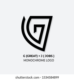 vector logo design monochrome letters G and J for products and companies
