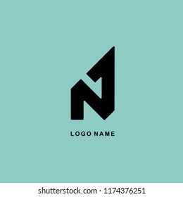 vector logo design N 1 abstract