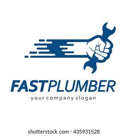 Vector logo design for plumbing company. Fast Plumber