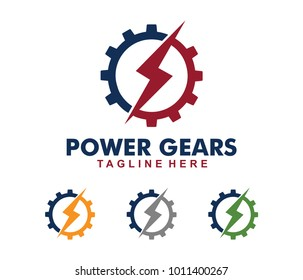 vector logo design of power electric, electricity plan, bolt gear, generator electrical