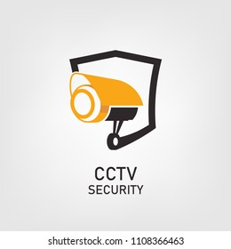 Vector logo design. Security icon with shield and cctv illustrations