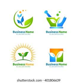 vector logo design set  of application leaf ecology, medical, health and farm