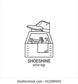 Vector logo design for shoeshine service. Man shoes, shoe polish, brushes for footwear. Outline icon for shoe care in trendy linear style.