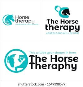 Vector logo design sign horse. woman circle hearth line art suitable for farm healing heartfelt therapy animal lovely.