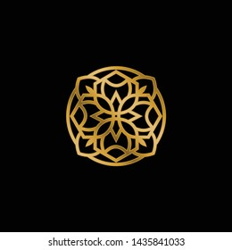 Vector logo design template - abstract symbol in ornamental arabic style - emblem for luxury products, hotels, boutiques, jewelry, oriental cosmetics, restaurants, shops and stores - Vector