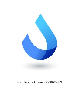 Vector logo design template. Abstract blue water drop, wave shape. Business,  technology, nature, ecology symbol.