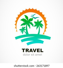 Vector logo design template. Abstract sun and palm tree on seaside. Concept for travel agency, tropical resort, beach hotel, spa. Summer vacation symbol.