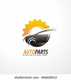 Vector logo design template for auto parts service with car silhouette and gear shape.