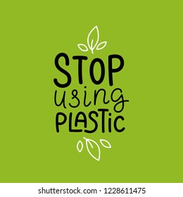 Vector logo design template and badge in trendy linear style and hand-lettering phrase stop using plastic - zero waste concept, recycle, reuse, reduce - ecological lifestyle, sustainable development