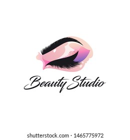 Vector logo design template for beauty salon. Lash and Brow sign.