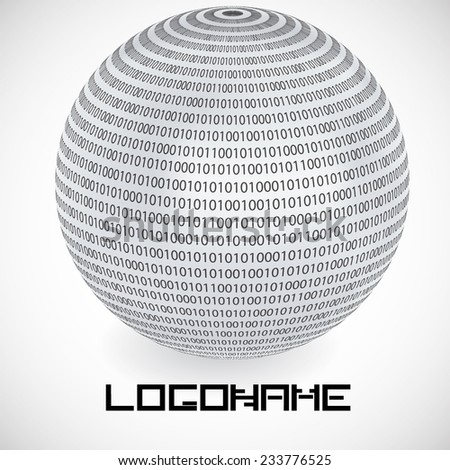 Vector Logo Design Template Binary Code In Sphere Form Technology Icon