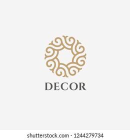 Vector logo design template for boutique hotel, restaurant, jewelry. Sun symbol