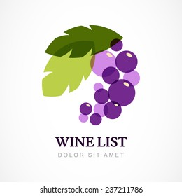 Vector logo design template. Branch of grape with leaves.