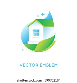 Vector logo design template in bright green gradient colors - cleaning service or eco friendly home concept
