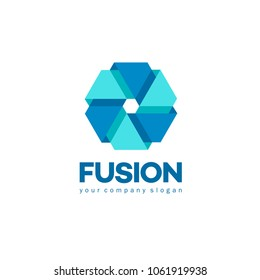 Vector logo design template for business. Merger and Fusion sign