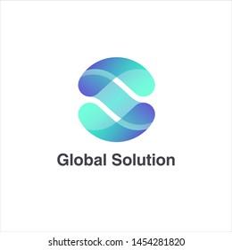 Vector logo design template for business. Letter S. Global solution