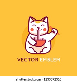 Vector logo design template in cartoon flat linear style - smiling maneki cat eating noodles - emblem, mascot, sticker or badge for asian food store or delivery