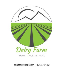 Vector logo design template in circle with agricultural field, mountains and sun. Abstract design concept for dairy farm, agronomy. Green farmer logo.