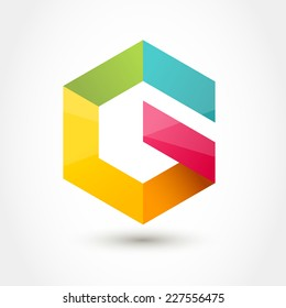 Vector logo design template. Colorful hexagon infinity loop shape, business technology abstract symbol. Letter G icon.