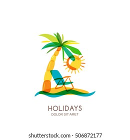 Vector logo design template. Colorful island, palms and beach chair on seaside. Concept for travel agency, tropical resort, beach hotel, spa. Summer vacation isolated hand drawn illustration.