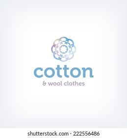 Vector logo design template - cotton and wool clothes