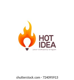 Vector logo design template. Creative sign icon. Hot idea