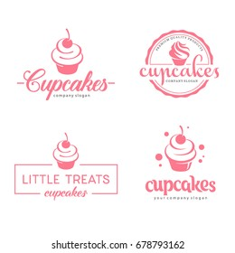 Vector logo design template. Cupcakes bakery icon.