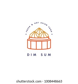 Vector logo design template and emblem or badge. Asian food - dim sum. Linear logos