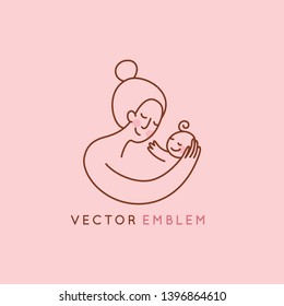 Vector logo design template and emblem in simple line style - happy mother and child - badge for children store and baby care centers