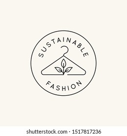 Vector logo design template and emblem in simple line style - sustainable fashion badge