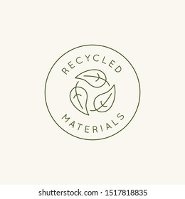Vector logo design template and emblem in simple line style - recycled materials - badge for sustainable made products and clothes