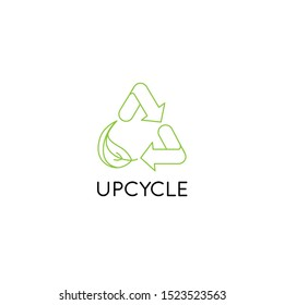 Vector logo design template and emblem in simple line style - upcycle - recycle symbol with leaf - sustainable development concept