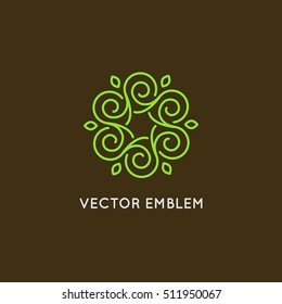 Vector logo design template and emblem made with leaves and flower - badge for yoga studios, holistic medicine centers, natural cosmetics, handcrafted jewelry and organic food products