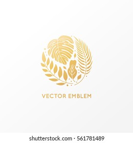 Vector logo design template and emblem made with golden palm trees - abstract sign with tropical leaves