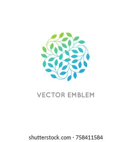 Vector logo design template and emblem made with leaves - luxury beauty spa concept - badge for yoga studios, holistic medicine centers, natural and organic food products and packaging