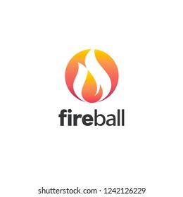Vector logo design template. Fire ball icon.