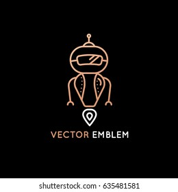 Vector logo design template in flat and simple style - robot mascot - emblem for startups, kids services and science courses, technology companies