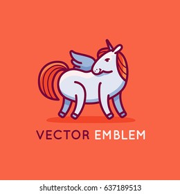 Vector logo design template in flat and linear style with happy and friendly unicorn - emblem for kids store, shop or service - magic and fairytale concept - print for t-shirt or greeting card