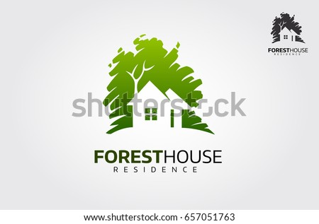vector logo design template forest house のベクター画像素材