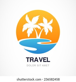 Vector logo design template. Green palm on seaside. Concept for travel agency, tropical resort, beach hotel, spa. Summer vacation symbol.