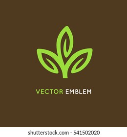 Vector logo design template - green leaves, abstract growth and ecology concept  - beauty symbol for organic and herbal cosmetics