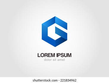 Vector logo design template. Hexagon infinity loop shape,  business technology abstract symbol. Letter G icon.