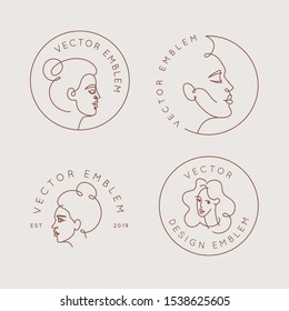 Vector logo design template and illustration in minimal linear style - minimalistic female portrait - abstract modern t-shirt print  - beauty and fashion concept - emblem for make up artist, fashion s