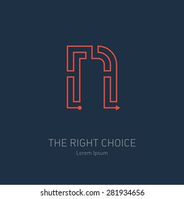 Vector logo design template, letter N. Concept idea of the right choice. The way out of the maze.