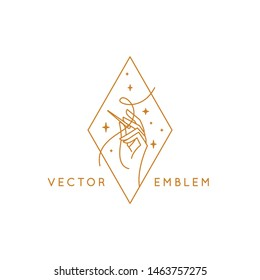 Vector logo design template in linear style - handmade embroidery and fashion - hand holding a needle with thread