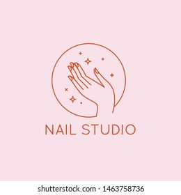 Vector logo design template in linear style - nail studio emblem - beauty spa, hand with stars