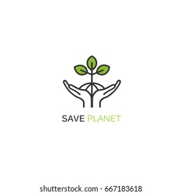 Vector logo design template in linear style - sprout growing from hands. Concept for nature protection, ecology and environmental organizations.